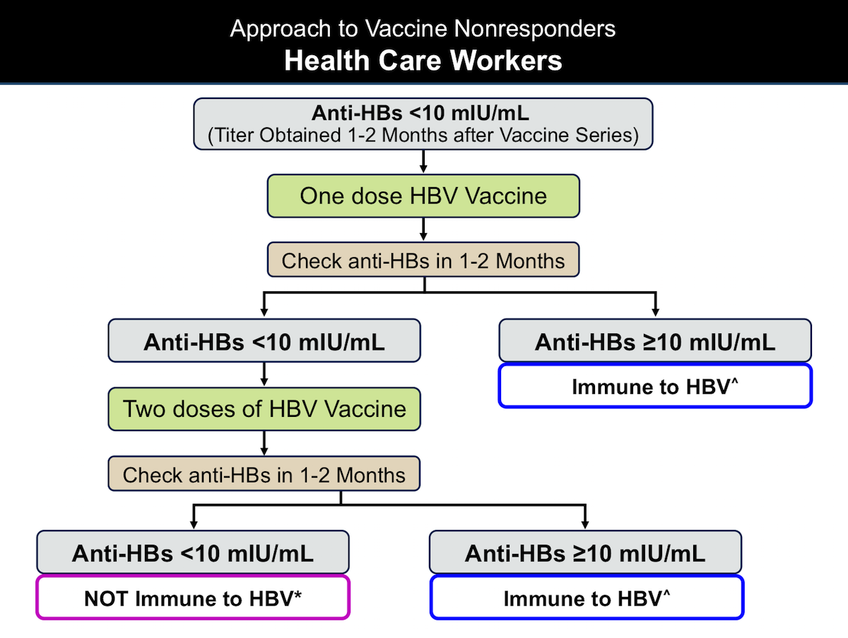 ^For occupational exposures to hepatitis B, no action for hepatitis B prophylaxis (regardless of source patient hepatitis B surface antigen status).</br>