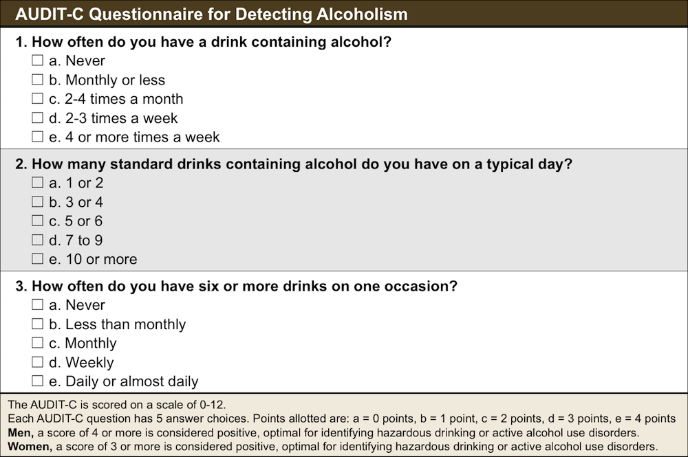The AUDIT-C is a 3-item screening questionnaire to help identify individuals who have alcohol use disorders (alcohol abuse or dependence). The AUDIT-C is a truncated version of the 10-question AUDIT screen.<div>Source: Bush K, Kivlahan DR, McDonell MB, Fihn SD, Bradley KA. The AUDIT alcohol consumption questions (AUDIT-C): an effective brief screening test for problem drinking. Ambulatory Care Quality Improvement Project (ACQUIP). Alcohol Use Disorders Identification Test. Arch Intern Med. 1998;158:1789-95.</div>