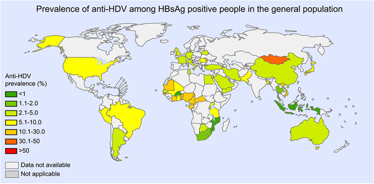 <div>Source: Stockdale AJ, Kreuels B, Henrion MYR, et al. The global prevalence of hepatitis D virus infection: Systematic review and meta-analysis. J Hepatol. 2020;73:523-32.</div>